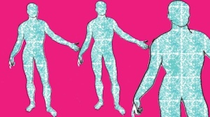 human outlines pink background